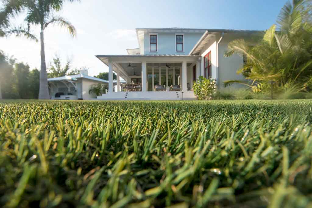 Residential home with ForeverLawn synthetic grass installed