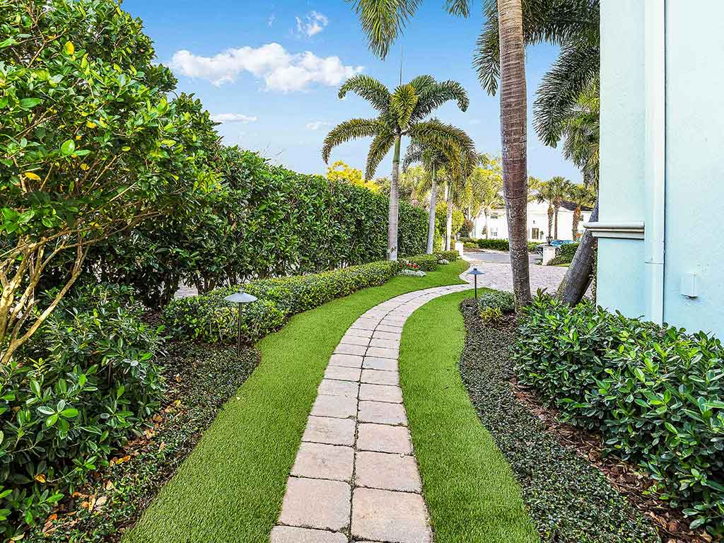 walkway with artificial turf installed